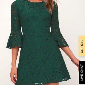 Flair Forest Green Lace Flounce Sleeve Dress